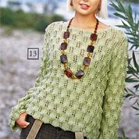 Женский пуловер спицами с ажурным узором из журнала «Сабрина»