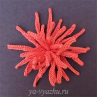 Вязаный цветок — игольчатая хризантема (мастер-класс)