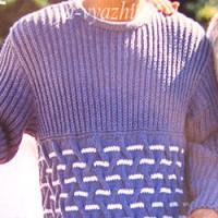 Не хотите связать мужской сине-белый пуловер спицами?