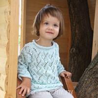 Ажурный пуловер «Мятное мороженое» для девочки 2 лет спицами