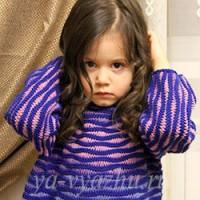 Джемпер для девочки спицами «Морская гладь» (4-5 лет)