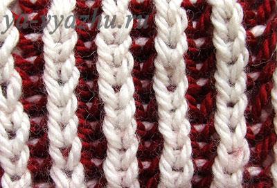 Двухцветная английская резинка с вертикальными полосами