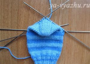 Круговое вязание подъема стопы носка