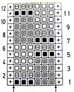 "Схема узора спицами ""Цветная шахматка"""