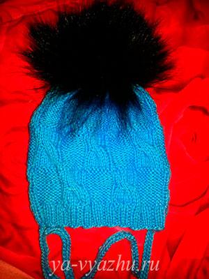Вязаная шапочка. Работа Ольги Мальцевой