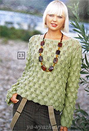 Женский пуловер спицами с