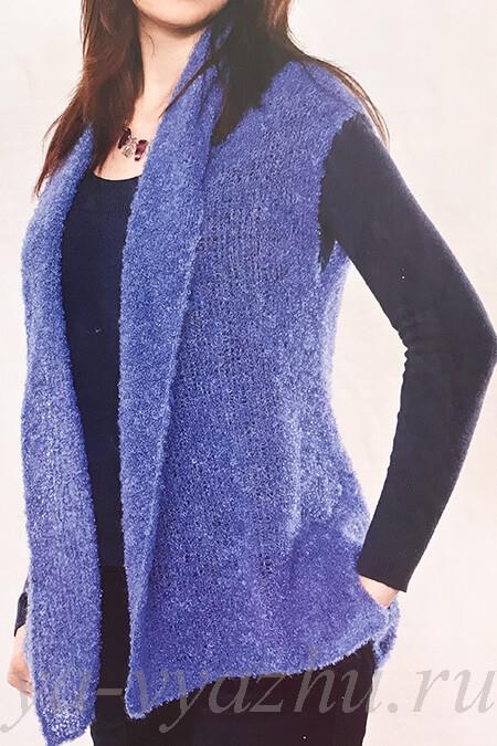 Синий женский жилет спицами