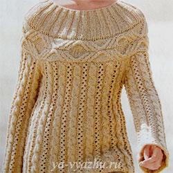 Вязаный пуловер или вязаное платье спицами