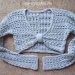 Пуловер-болеро с ажурным узором