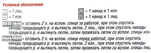 """Условные обозначения к схеме узора """"Крупные соты"""""""
