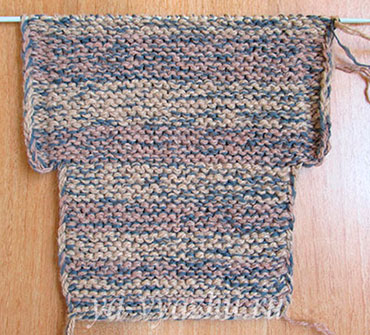Лицевая сторона вязаного тапочка