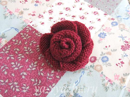 Вязание цветка розы спицами