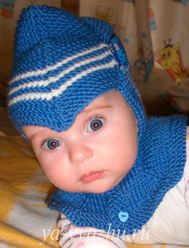 Шапочка-шлем спицами от Марины Гибовской