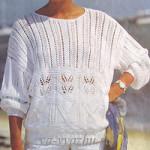 Белый ажурный пуловер спицами для весны и лета