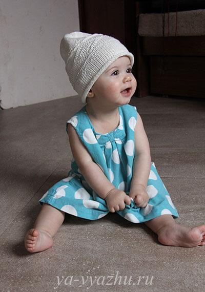 Детская шапочка-колпак спицами
