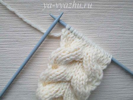 Как вязать шарф-снуд спицами в виде косы