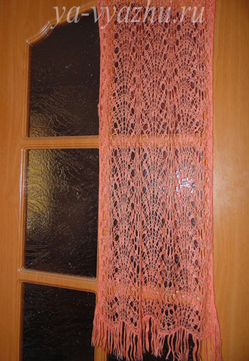 Ажурный шарф спицами от Оксаны Белоусовой