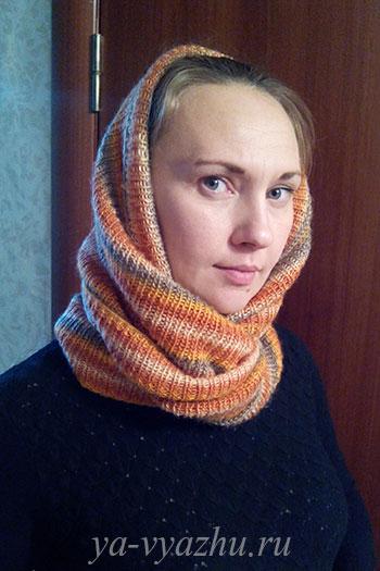 Шарф-снуд спицами от Ксении Черненко
