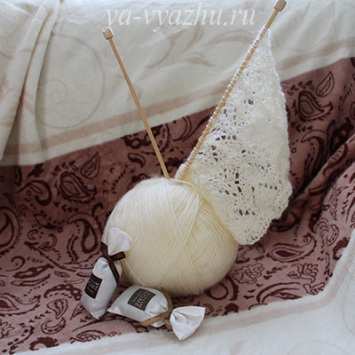 Начало вязания шарфа-пелерины