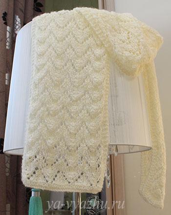 Ажурный шарф-пелерина спицами