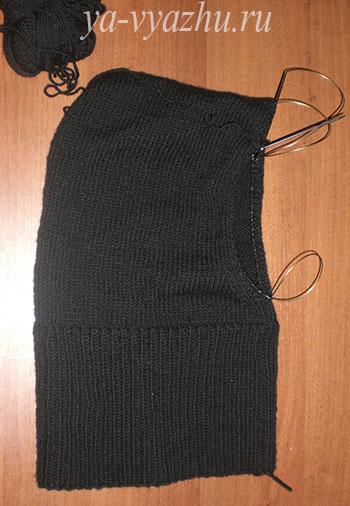Вязание мужского снуда-капюшона спицами