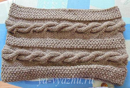 Сшиваем шарф-снуд, связанный спицами