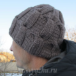 Связать мужскую шапку