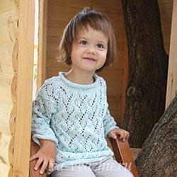 Ажурный пуловер для девочки 2 лет спицами