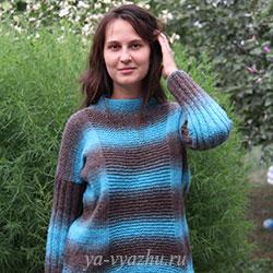 Креативный женский пуловер спицами