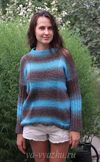 Креативный женский пуловер спицами для начинающих