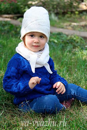 Детская шапочка-колпак спицами для Златочки