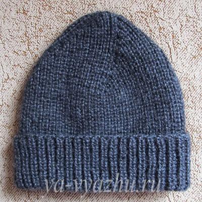 Теплая зимняя шапка спицами из мохера