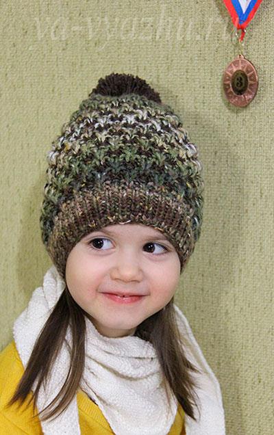 "Детская шапка спицами ""Ананасик"""
