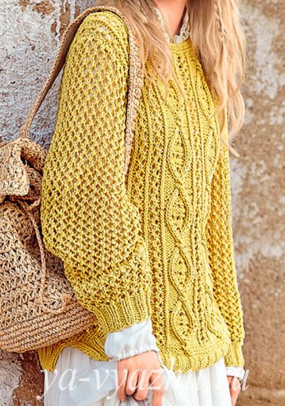 Золотистый ажурный пуловер спицами