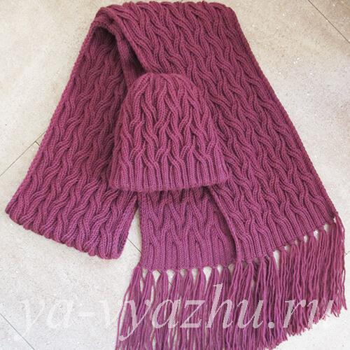 Женская шапка и женский шарф спицами