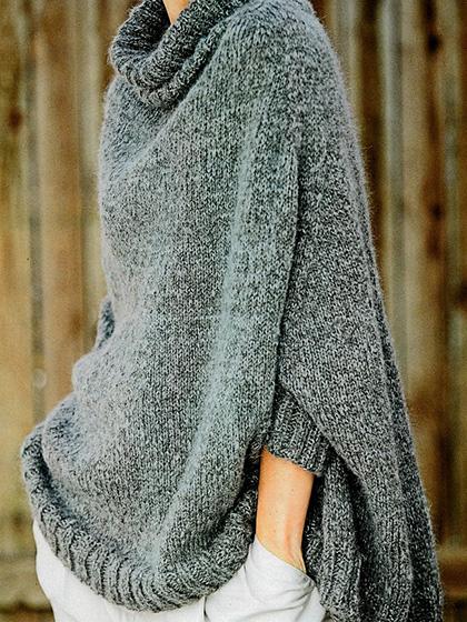 Женское теплое пончо спицами