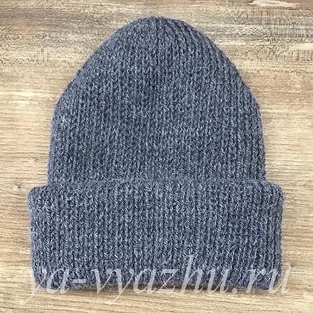 Серая женская шапка с отворотом