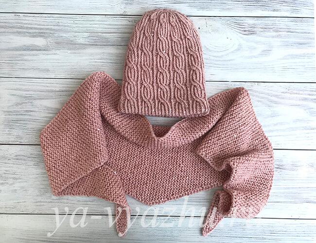 Зимний комплект для девочки из шапки и шарфа