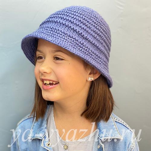 Вязаная детская шапка-панама