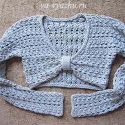 Вязание пуловера-болеро спицами, да еще и поперек