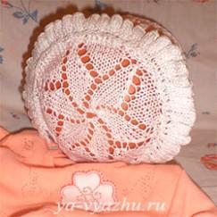 Чепчик для новорожденной «Мой цветочек» на конкурс!