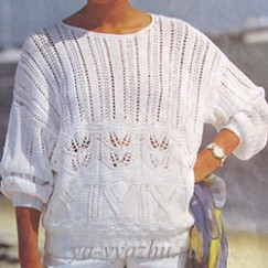 Белый ажурный джемпер спицами для весны и лета