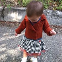 Детский жакет платочной вязкой для годовасика