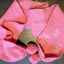Детский шарф со снежинками из бисера от Елены Выскребцевой