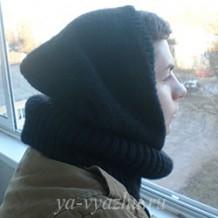Мужской снуд-капюшон спицами от Марины Гибовской