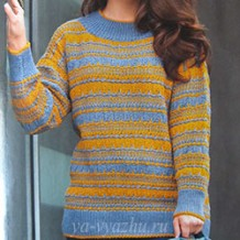 Двухцветный женский пуловер спицами с элементами жаккарда