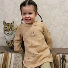 Детский джемпер «Ажурные котята» для девочки 3-4 лет