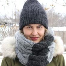 Зимняя шапка и снуд спицами для любимых дочек