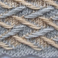 Красивые двухцветные узоры спицами со снятыми петлями
