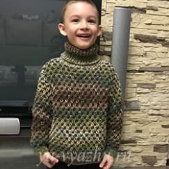 Дополнение к шапочке — свитер «Ананасик» для мальчика 5-6 лет